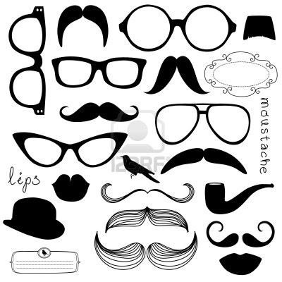 Retro Party set - zonnebril, lippen, snorren Stockfoto