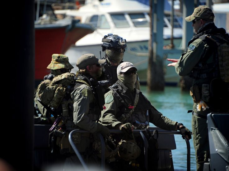 Australian Special Air Service Regiment (SASR) troops secure the bridge of the bulk carrier Double Providence during maritime counter-terrorism training as part of Exercise IRON MOON, held off the coast of Exmouth, North West Australia. September 18, 2013.