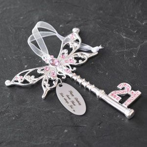 Personalised Pink Butterfly 21st Birthday Key: pinterest.com/pin/366761963376459305