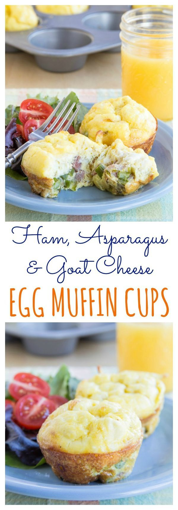 Ham, Asparagus & Goat Cheese Egg Muffin Cups -  mini individual quiche or frittata perfect for brunch or for making ahead to freeze for busy mornings | cupcakesandkalechips.com | gluten free recipe #BrunchWeek