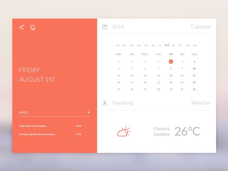 @Anton Reimertz inspired me to remake his Calendar Widget. I hope you like it and please leave feedback.  Retina