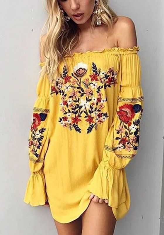 aa28ca82c747 Yellow Floral Ruffle Embroidery Off Shoulder Homecoming Party Mexican Boho  Mini Dress