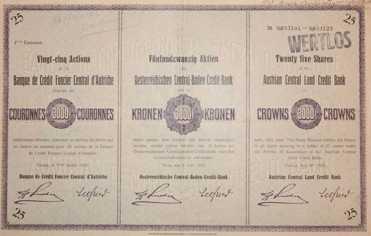 """25 Aktien """"ÖSTERREICHISCHE C-B-C-B"""". 75.000 Kronen, Wien 1923"""
