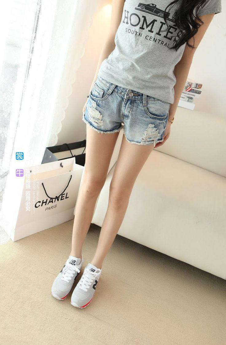 2016 лето новые случайные студенты теряют большой ярдов отверстие было тонкие светлые талии шорты джинсовые женские шорты - Taobao