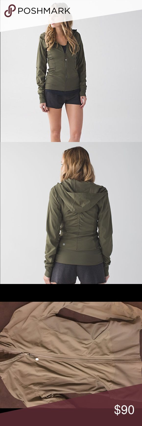 Lululemon reversible IN FLUX zip-up hoodie Water resistant, olive green, new without tags lululemon athletica Jackets & Coats