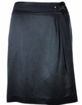 Tahari by ASL Lucy Pinstripe Wrap Skirt 10 Black [Apparel]