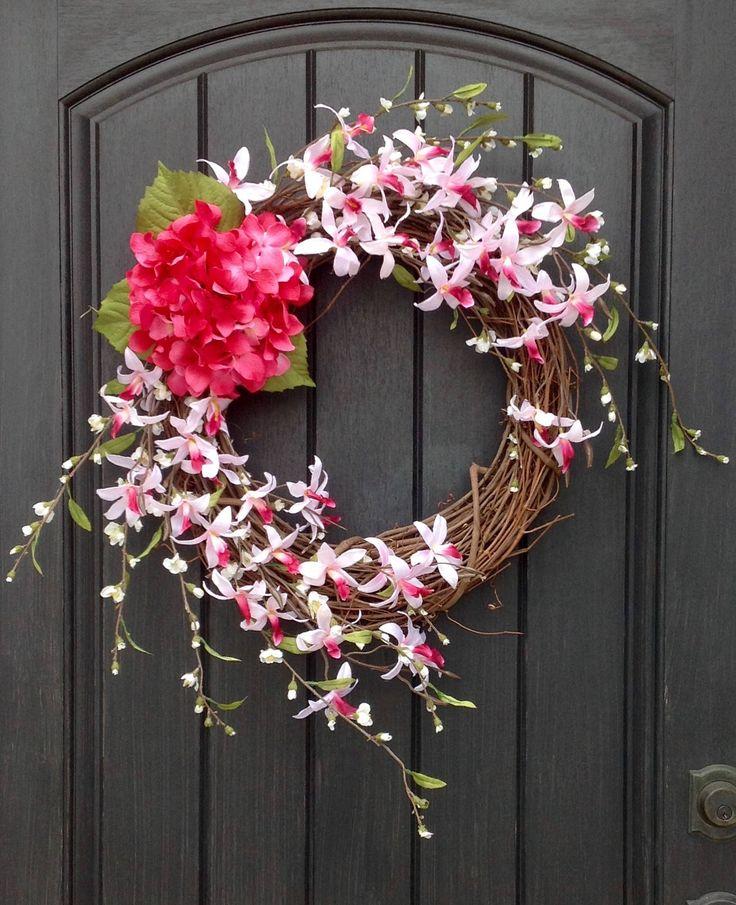 Spring Wreath Summer Wreath Grapevine Door Wreath Decor Pink Florals Wispy