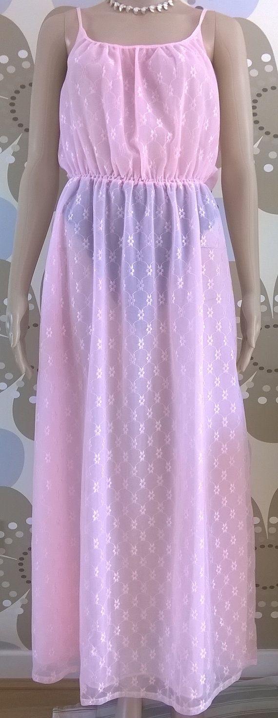 Vintage Pink Chiffon Nightgown 1970s Nylon Nightie Vintage Lingerie 70s Women's Nightdress Size WX Full Length