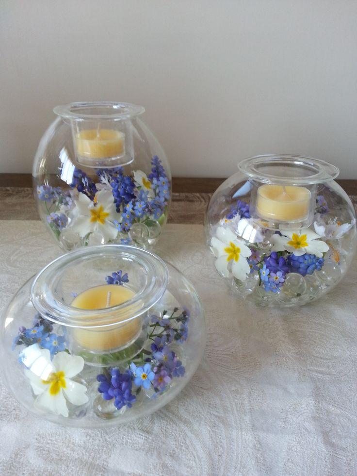 Trio Clearly Partylite, avec fleurs fraiches de printemps du jardin. Pour en voir plus / to see more: www.partylite.biz/francisguay