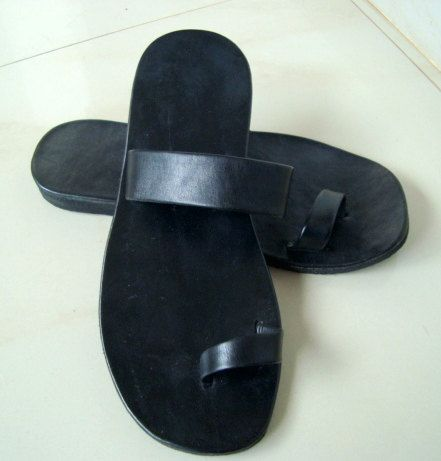 Single Band Leather Sandals Black  READY MADE  by IncredibleIndia, $35.00