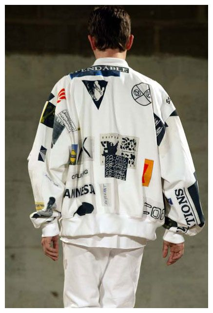 OUTERWEAR: jersey windbreaker w/ patches COLORS: white (pic), black