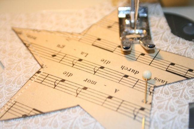 Stern nähen Notenpapier ausschneiden schöne Dekoration