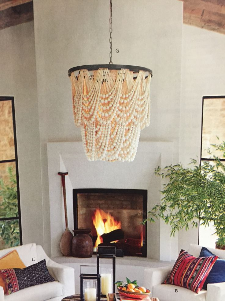 Pottery barn Amelia wood bead chandelier