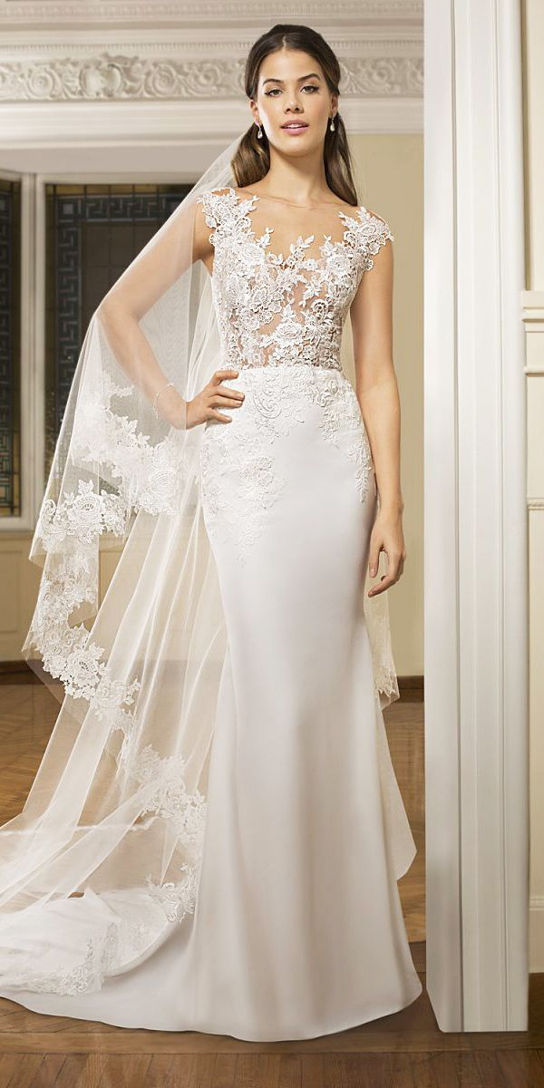 18 Demetrios Wedding Dresses For Charming Style ❤️ demetrios wedding dresses sheath lace top with veil 2018 ❤️ Full gallery: https://weddingdressesguide.com/demetrios-wedding-dresses/ #bridalgown #weddingdresses2018 #wedding #bride