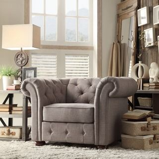 TRIBECCA HOME Knightsbridge Grey Linen Tufted Scroll Arm Chesterfield Chair | Overstock™ Shopping - Great Deals on Tribecca Home Living Room Chairs