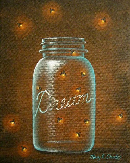Firefly Dreams Print By Mary Charles Mason Jar Painting