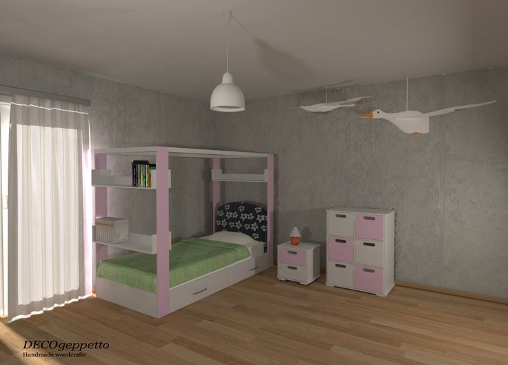 Σύνθεση επίπλων σε παιδικό δωμάτιο , σε συνδυασμό λευκής και παστέλ ροζ απόχρωσης λάκα