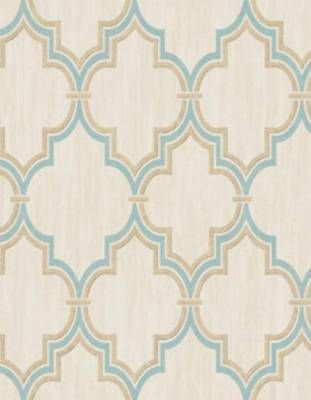 Wallpaper Aqua & Metallic Gold Moroccan Trellis Lattice on Faux Cream Linen