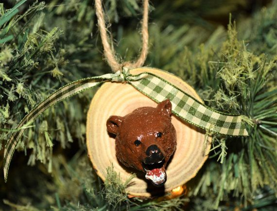 Rustic Grizzly Bear Wood Slice Ornament by PecanPieCrafts on Etsy