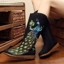 2017 Chinese Mode Vogue Vrouwen Laarzen Canvas Geborduurde Phoenix Laarzen Oude Beijing Mid Kalf Etnische Casual Comfortabele Laarzen(China)