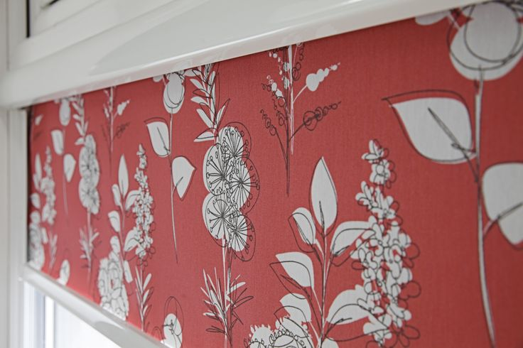 Red Floral Intu Roller blinds from Apollo Blinds.