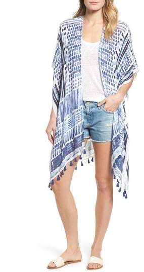 0f3e007e1bc94 Loving this for a swim suit cover up or just with a tee and jean shorts!  Caslon(R) Print Tassel Ruana (affiliate)