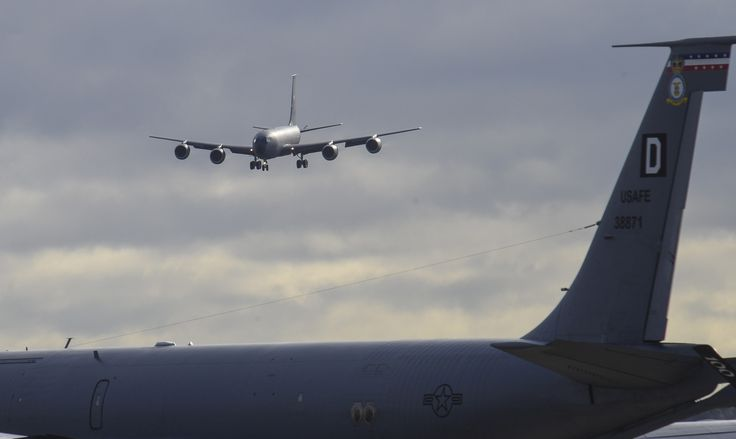 A U.S. Air Force KC-135 Stratotanker assigned to the 100th Air Refueling Wing prepares to land March 29, 2016, on RAF Mildenhall, England. The KC-135 spent nine months in depot maintenance at Tinker Air Force Base, Okla. and Fairchild AFB, Wash. While in depot maintenance, the aircraft was repainted and had key components replaced. (U.S. Air Force photo by Staff Sgt. Micaiah Anthony/Released)