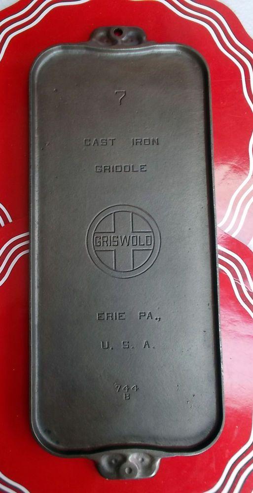 GRISWOLD Large Logo #7 Cast Iron Long Griddle PN744B C1925-50 VGCon #Griswold