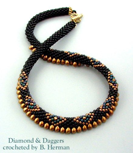 Beaded Crochet Necklace - Lots of very different designs.