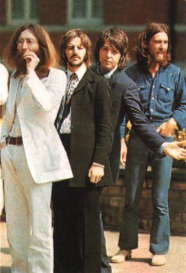 The Beatles waiting to cross the road  during the Abbey Road Cover Photoshoot. 1969
