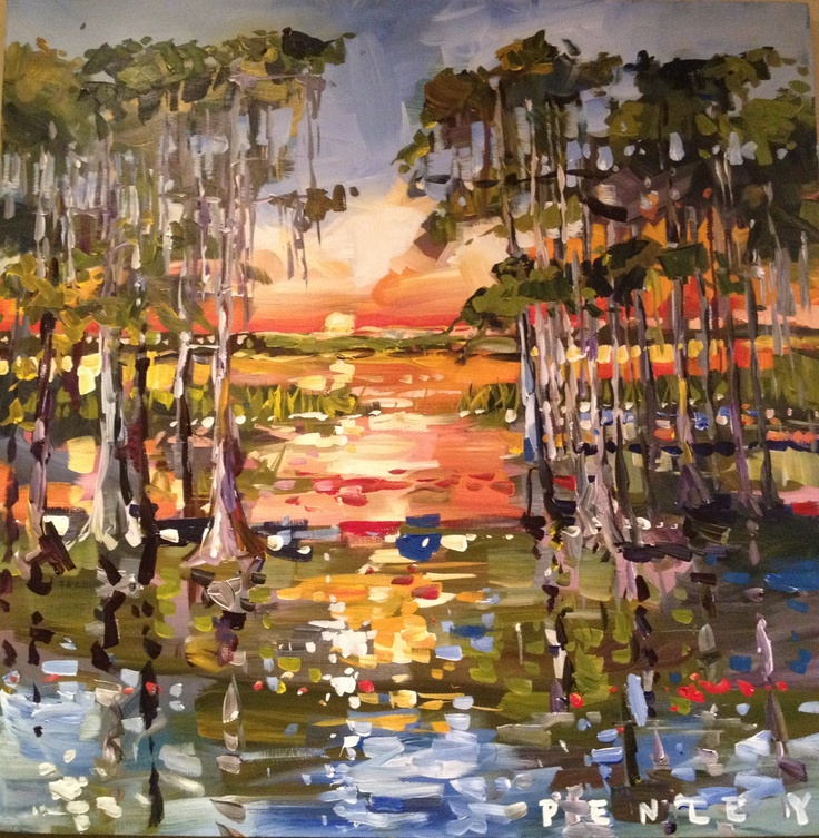 Steve Penley painting of Louisiana cypress marsh