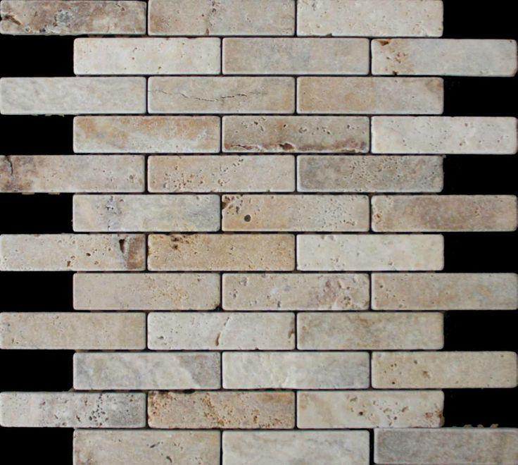 Mozaika marmurowa -  Kolekcja: Brico 25100; Kod: B2510010; Wykończenie: ANTICO; Materiał: Travertino Scabas; Wym. Kostki: 2,5x10 cm; Wym. Plastra: 35,3x31,8 cm;