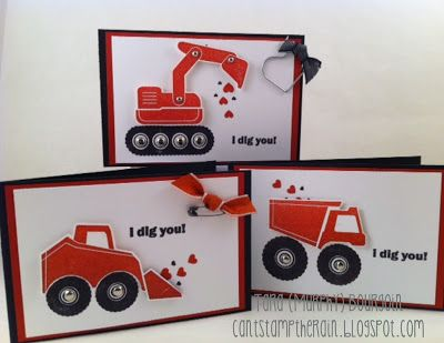 handmade Valentines ... for boys ... red and black on white ... trucks and trucks with cute Valentine sentiments ...