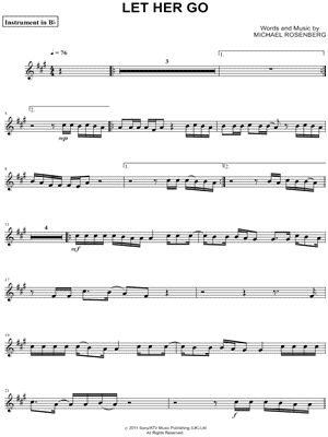 "Passenger ""Let Her Go - Bb Instrument"" Sheet Music (Trumpet, Clarinet, Soprano Saxophone or Tenor Saxophone) - Download & Print"