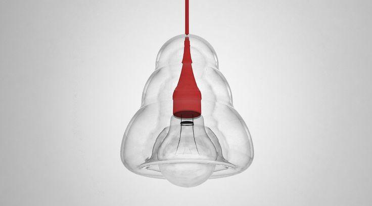 A glass pendant lamp (rendered), Jalte Windum (www.jaltewindum.com).