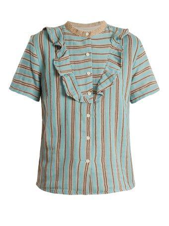 Fiona ruffle-trimmed cotton-gauze blouse
