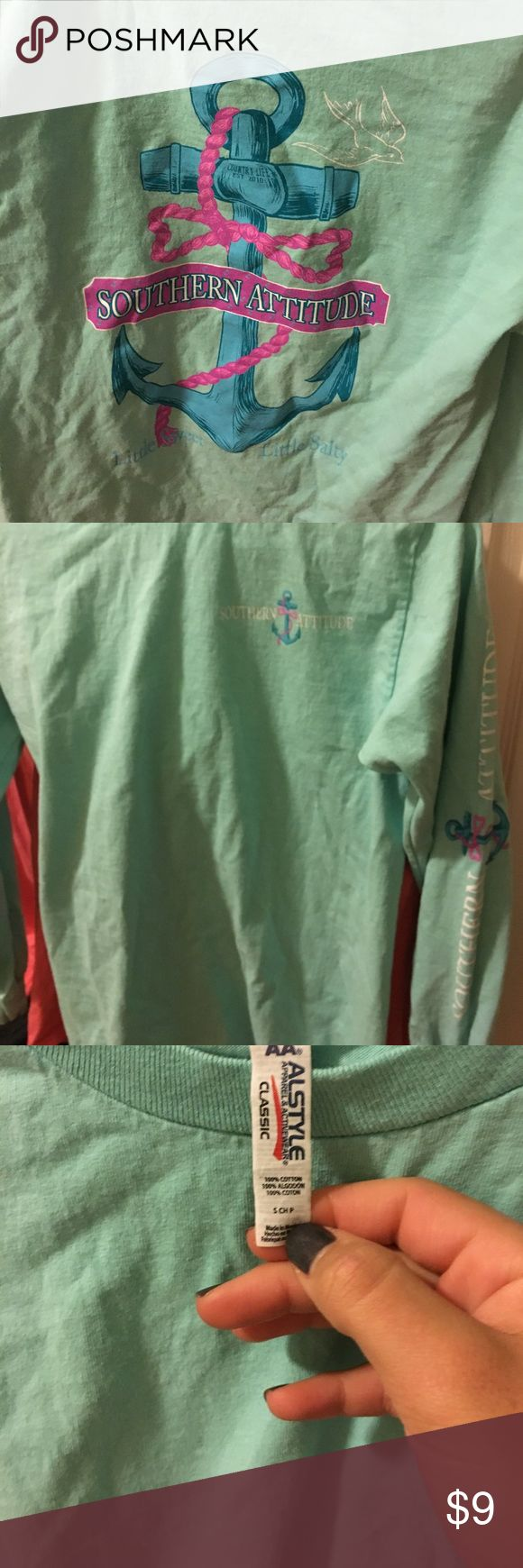 Long sleeve southern attitude Teal long sleeve southern attitude shirt with anchor and bow on back, worn once great for summer! size small Tops Tees - Long Sleeve