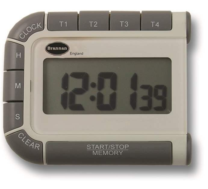 Four Way Timer and Clock - This device features 4 timers in one compact unit with 24 hour countdown and count up function. It also beneifts from a large easy to read display and a 12/24 hour clock. This kitchen timer comes complete with stand and magnetic clip. Batteries included.