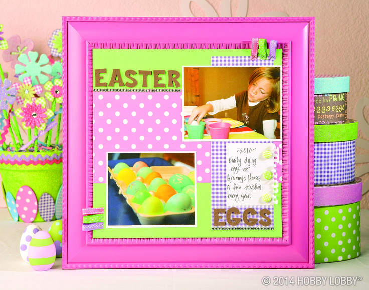 Have some papercrafting fun this Easter! This scrapbook page was made out of cardstock, patterned papers, foam letters, ribbon, fabric-covered brads and self-adhesive gemstones.