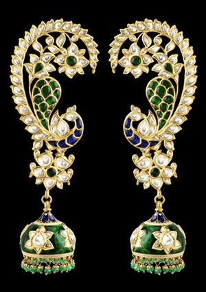 Earrings by Sunita Shekhawat Jaipur. Shine brilliantly in these diamond earrings featuring diamonds in an adorably beautiful jhumka design in pure gold.