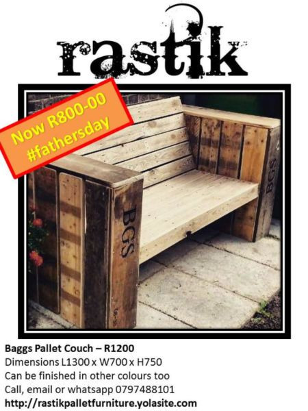 Baggs Pallet Couch – R1200Dimensions L1300 x W700 x H750Can be finished in other colours tooCall, email or whatsapp0797488101http://rastikpalletfurniture.yolasite.com