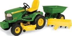 John Deere X748 Toy Tractor with Cart TBE15989 - John Deere Toys, Hats, Clothing, Merchandise and Party Supplies