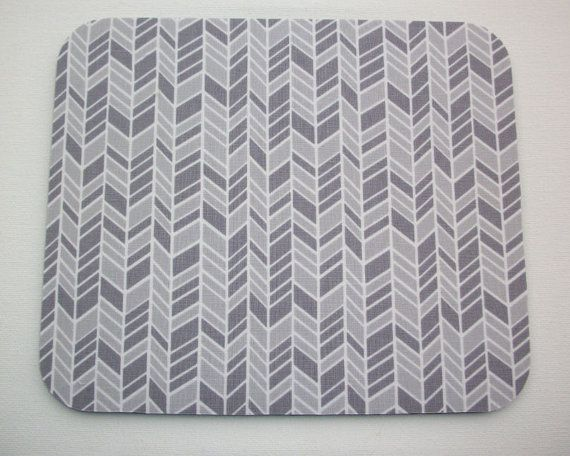 Herringbone Mouse Pad mousepad / Mat - Rectangle or round - chevron gray home office decor coworker gift