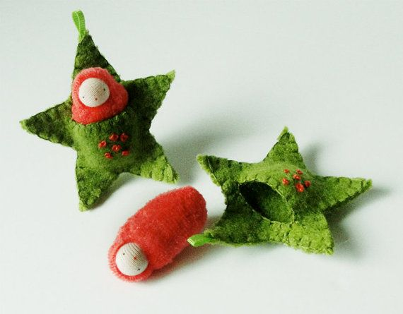Star ornament pocket doll hand embroidered waldorf decor advent calendar