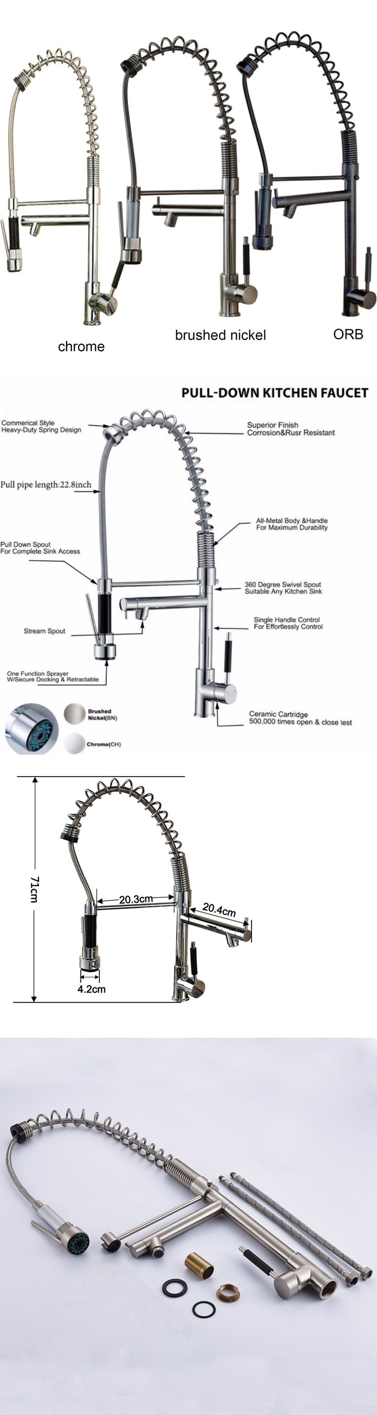 Bathroom sink faucet one hole double handle basin mixer tap ebay - Faucets 42024 Tall Spring Pull Down Kitchen Faucet Single Handle Hole Vessel Sink Mixer Tap