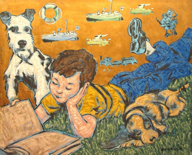 David Bromley  Boy Reading with Dog  Acrylic on canvas  150 x 180 cm