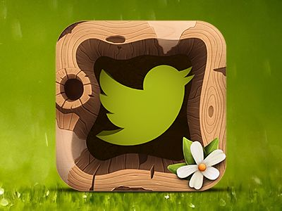 """Twitter Birdhouse - by Rodrigo Bellao @dribbble  // Rodrigo Bellao //  """"This icon is part of a series of experiments that have been doing to illustrate various types of texture. This time I chose a twitter client and played with the concept of a birdhouse."""""""