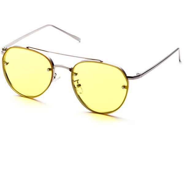 Metal Frame Double Bridge Yellow Lens Aviator Sunglasses (24 AUD) ❤ liked on Polyvore featuring accessories, eyewear, sunglasses, yellow lens sunglasses, retro sunglasses, vintage retro glasses, vintage sunglasses and vintage glasses