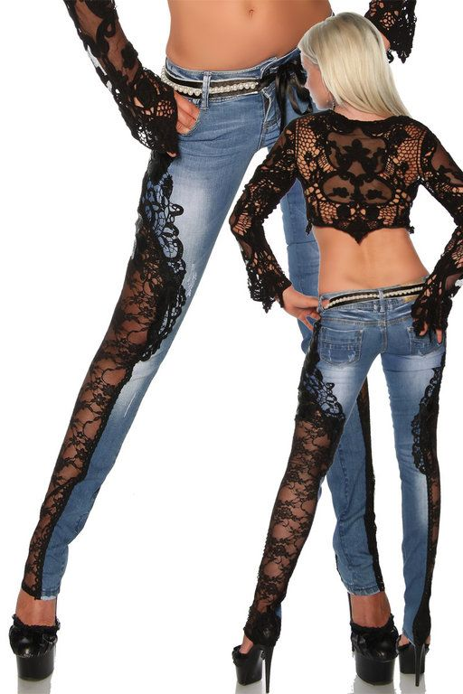 Jeanshose mit Spitze, blau-schwarz
