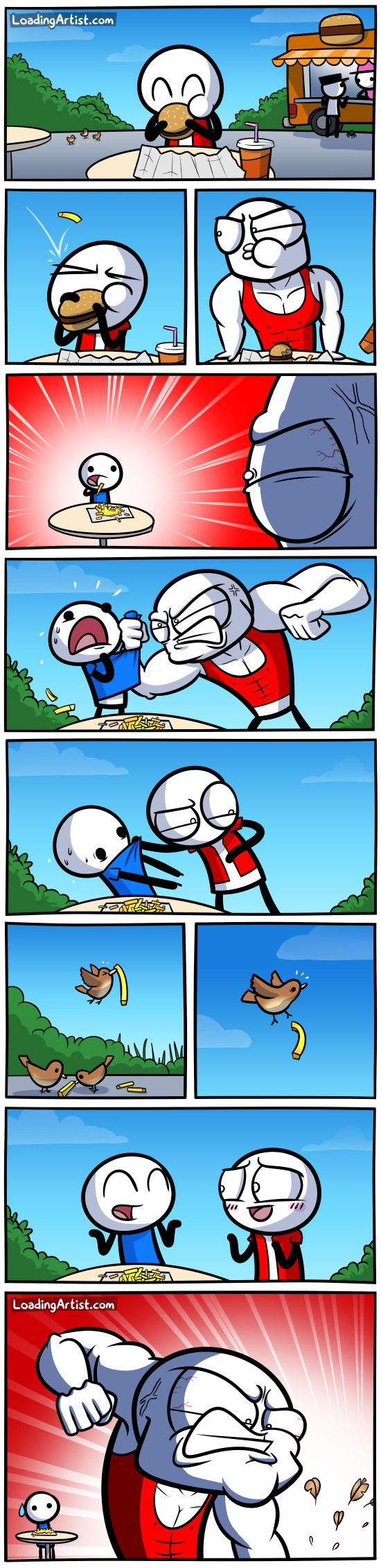 A guy eating a burger gets attacked by a chip... comics without words are hard to describe. Tap to view!